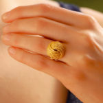 Vintage Ropework Knot Cocktail Ring in Yellow Gold
