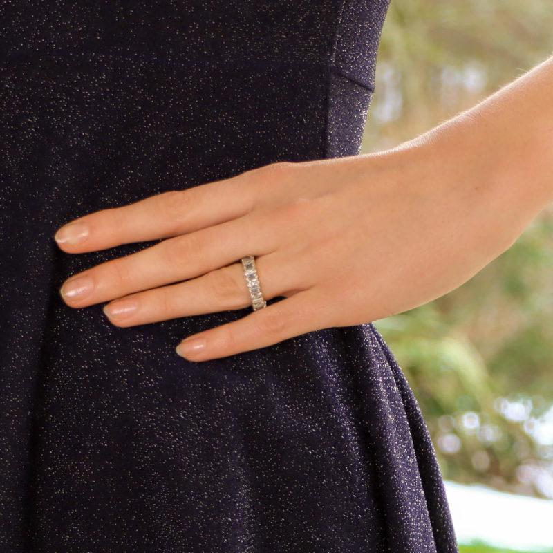 Marquise-Cut Baguette-Cut Diamond Full Eternity Ring White Gold