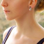 Vintage Cultured Pearl and Diamond Scroll Drop Earrings