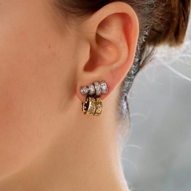Drayson London 1930's diamond set ear clips