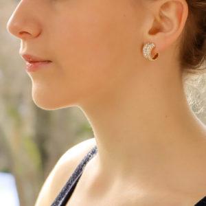 Vintage Cartier Diamond Gold Double Hoop Earrings