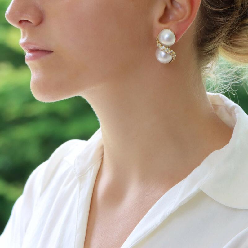 18ct mabé pearl diamond clip on earrings
