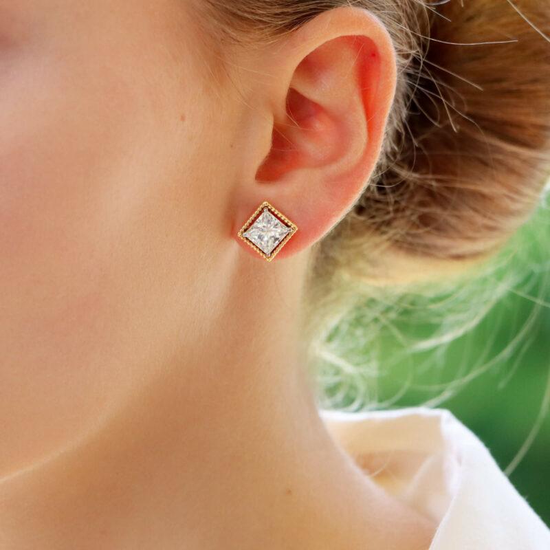 Convertible 4.04ct Princess-Cut Diamond Stud Earrings in Gold