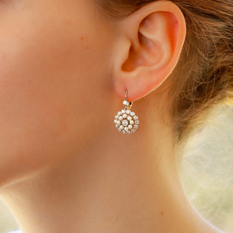 Pearl and Diamond Lever-Back Cluster Earrings