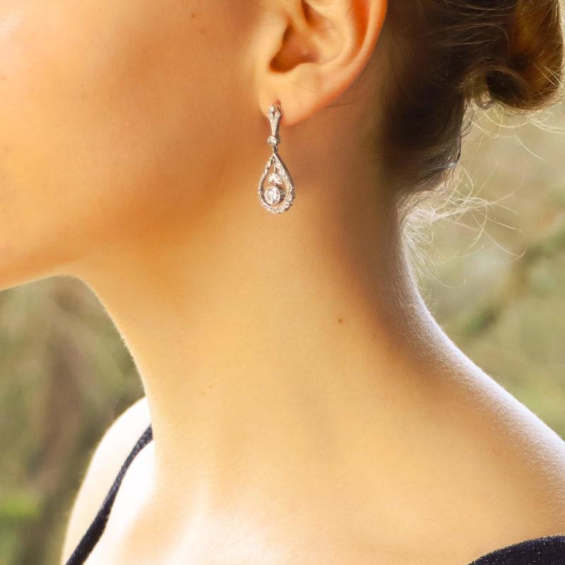 Edwardian style diamond garland pendent earrings