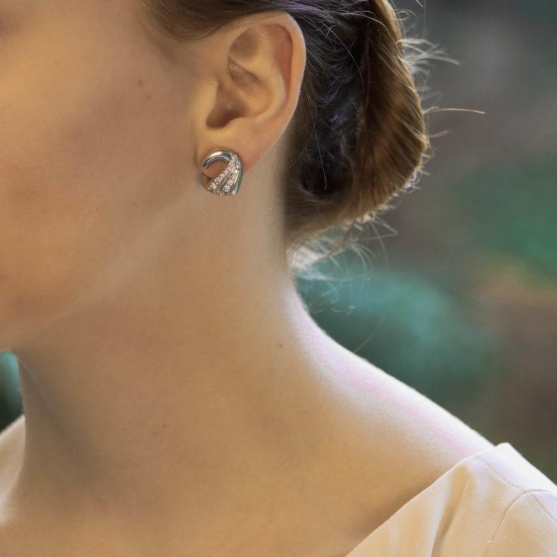Vintage Bulgari Swan Diamond Ear Clips