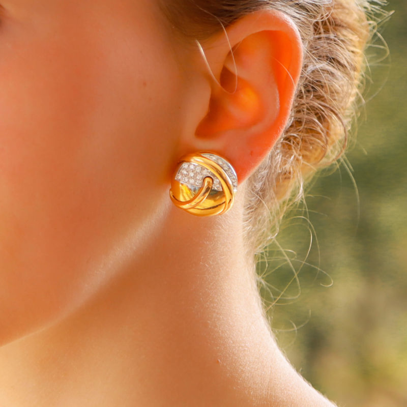 1960's 18ct gold diamond set earrings