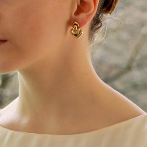 18k yellow gold heart drop earrings