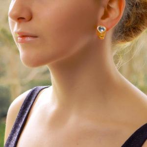 Marina B Aquamarine Hoop Earrings