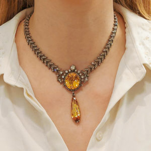 Antique Imperial Topaz and Diamond Necklace