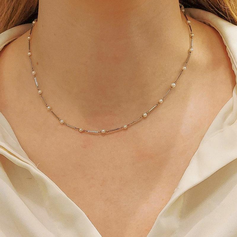 Platinum pearl diamond necklace