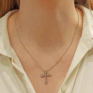 Stylized Diamond Cross Pendant in Platinum