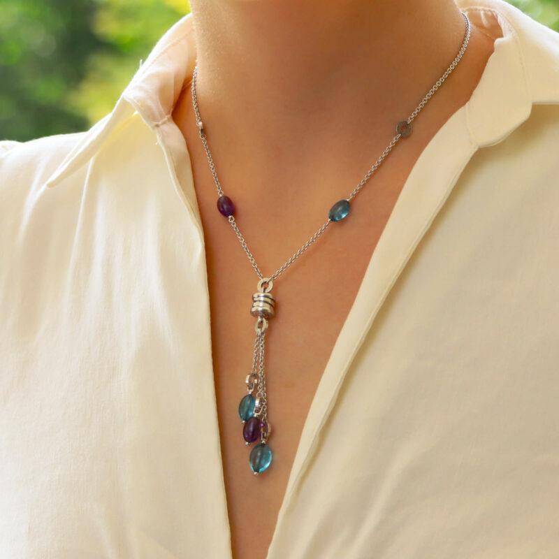 Bvlgari B.Zero1 Blue Topaz and Amethyst Tassel Necklace