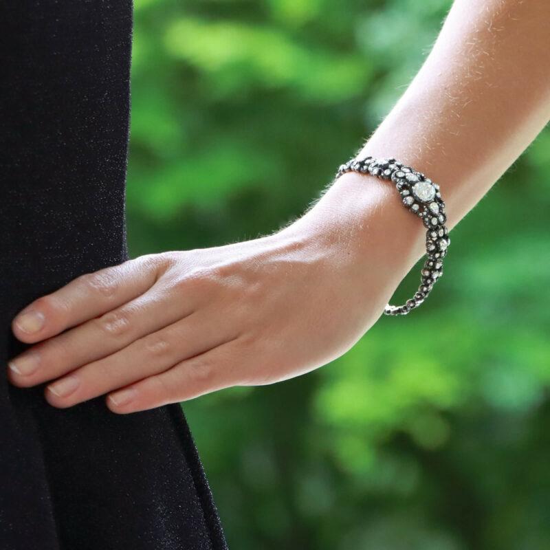 Rare Georgian 4.5ct Rose-Cut Diamond Bracelet Silver-on-Gold