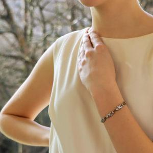 Victorian Scrolled Diamond Bracelet in Silver-on-Gold