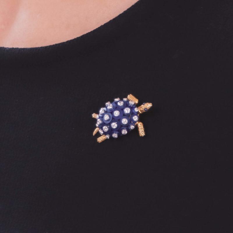 Cartier 1960s Lapis Lazuli, Diamond and Sapphire Turtle Brooch