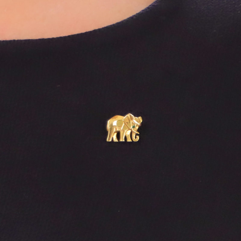 Vintage Cartier Elephant Pin/Brooch in Yellow Gold, 1990s