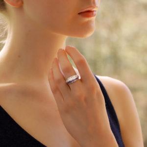Art Deco Inspired Sapphire and Diamond Split Ring