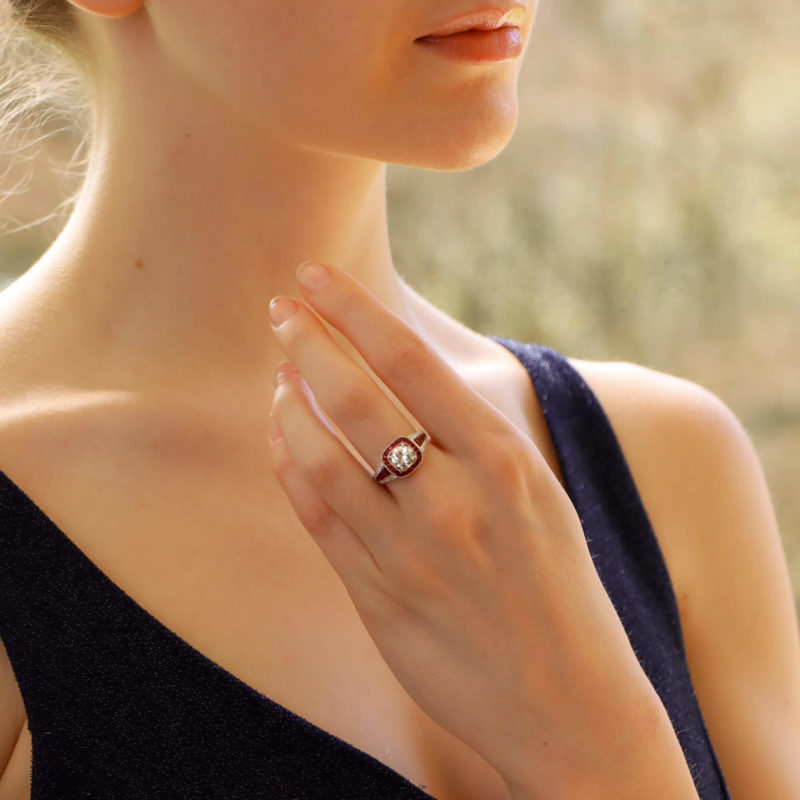 Art Deco Inspired Ruby and Diamond Target Ring