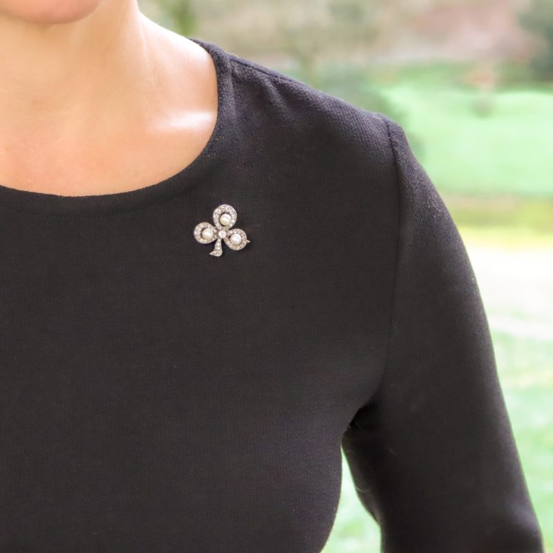Victorian Pearl and Diamond Clover Brooch Silver-on-Gold