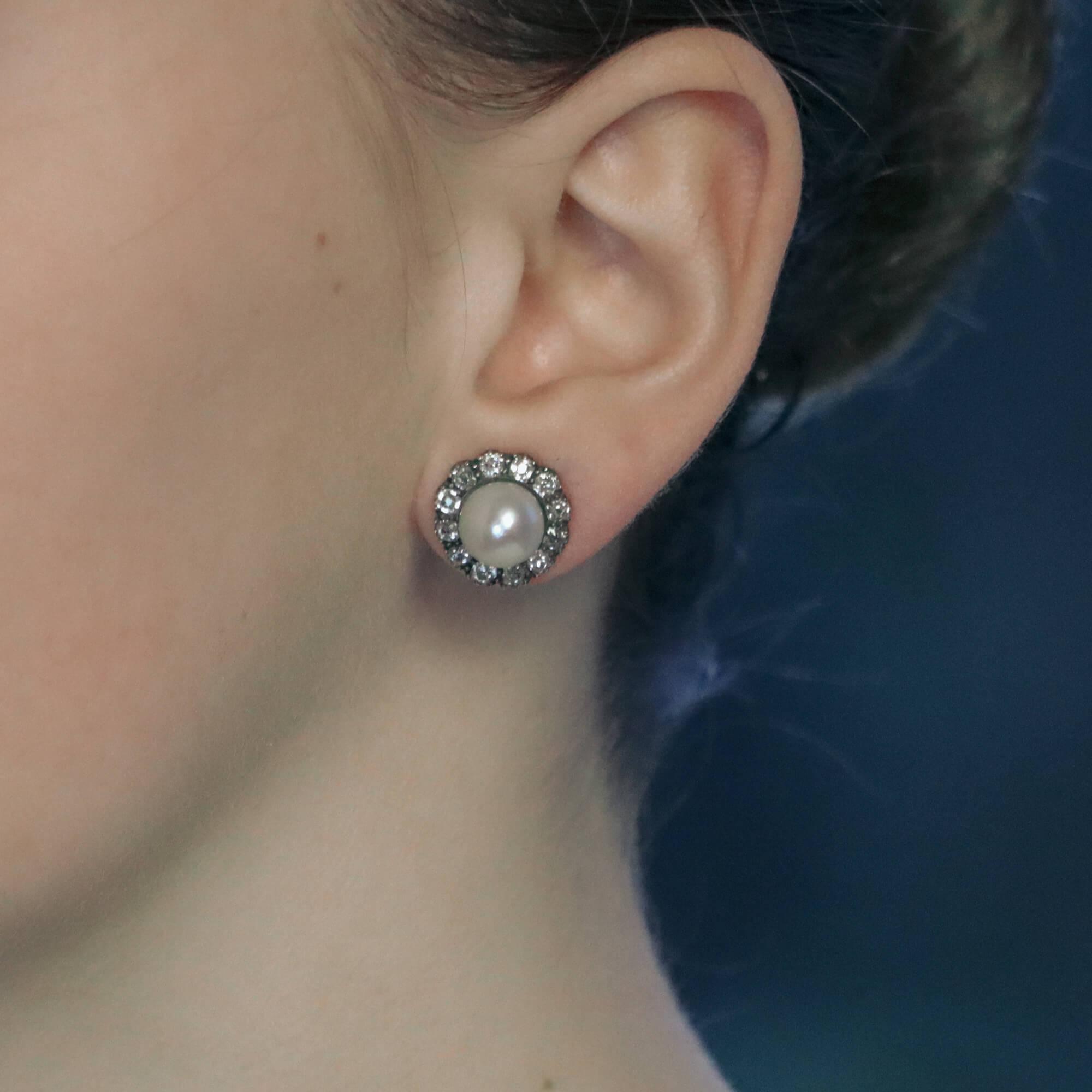 Victorian Natural Pearl Mine Cut Diamond Cluster Earrings At Susannah Lovis Antique Jewellery