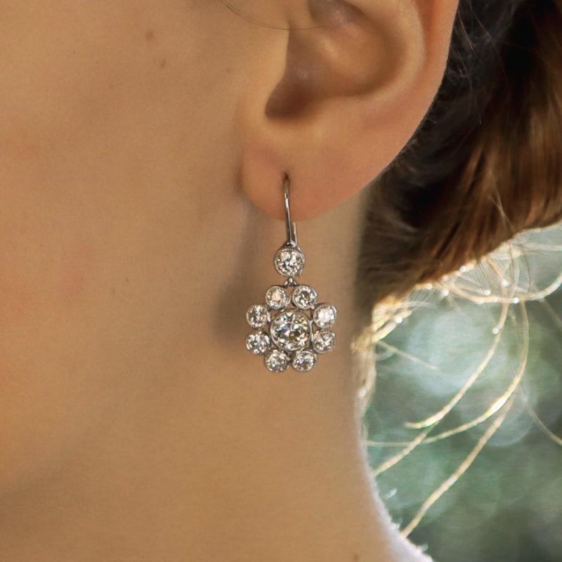 Old Mine Cut Diamond Cluster Earrings