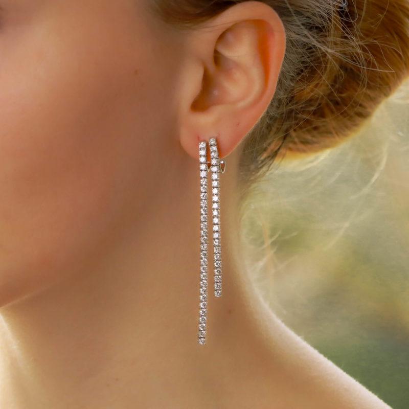 Diamond double line drop earrings