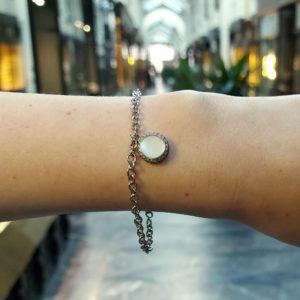 Vintage ruby signed Valente diamond 18k gold bracelet