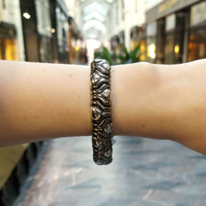 Vintage Aztec Mosaic Bracelet in Black and White Gold, Italian