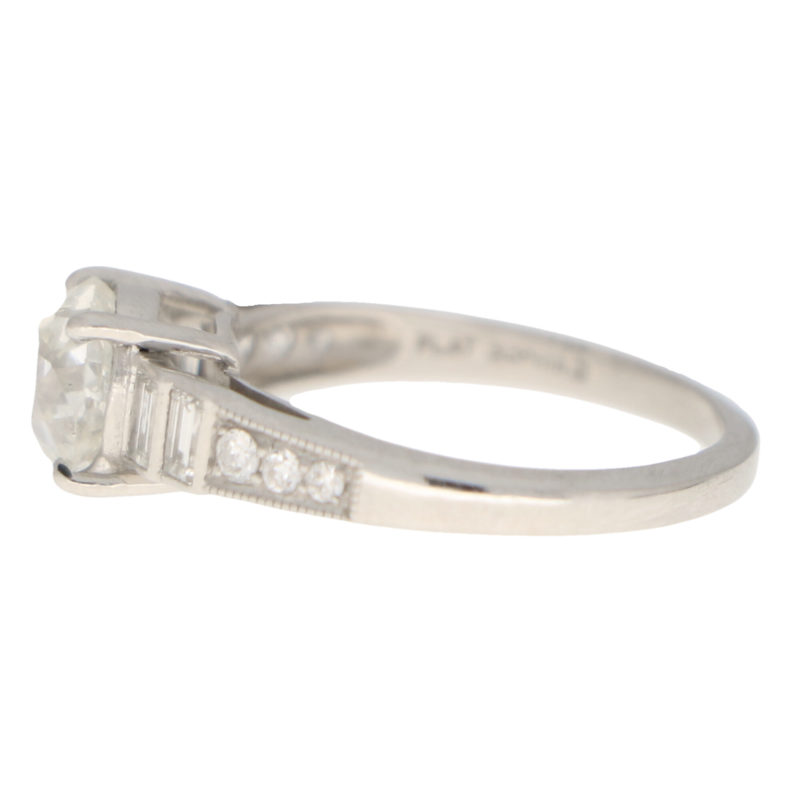 Art Deco Style Old Cut Diamond Solitaire Ring