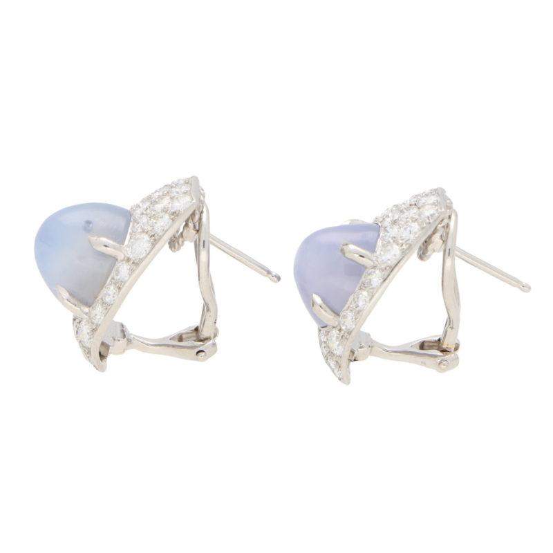 Art Deco Inspired Star Sapphire and Diamond Earrings