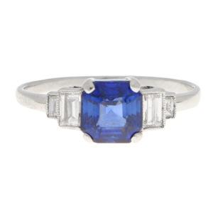 Art Deco Sapphire and Diamond Ring in Platinum