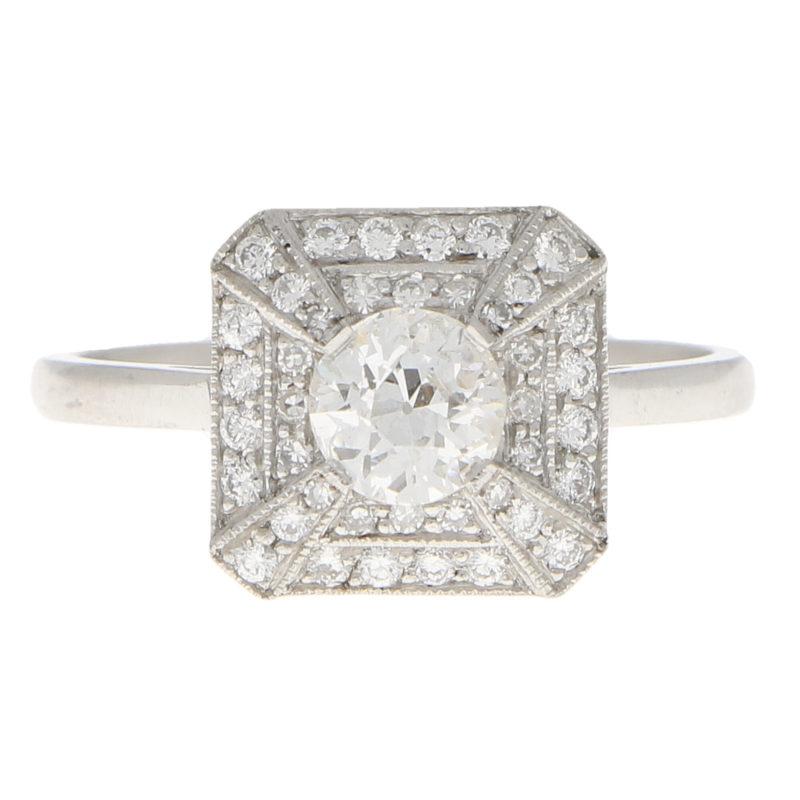 Art Deco Inspired Old Cut Diamond Ring