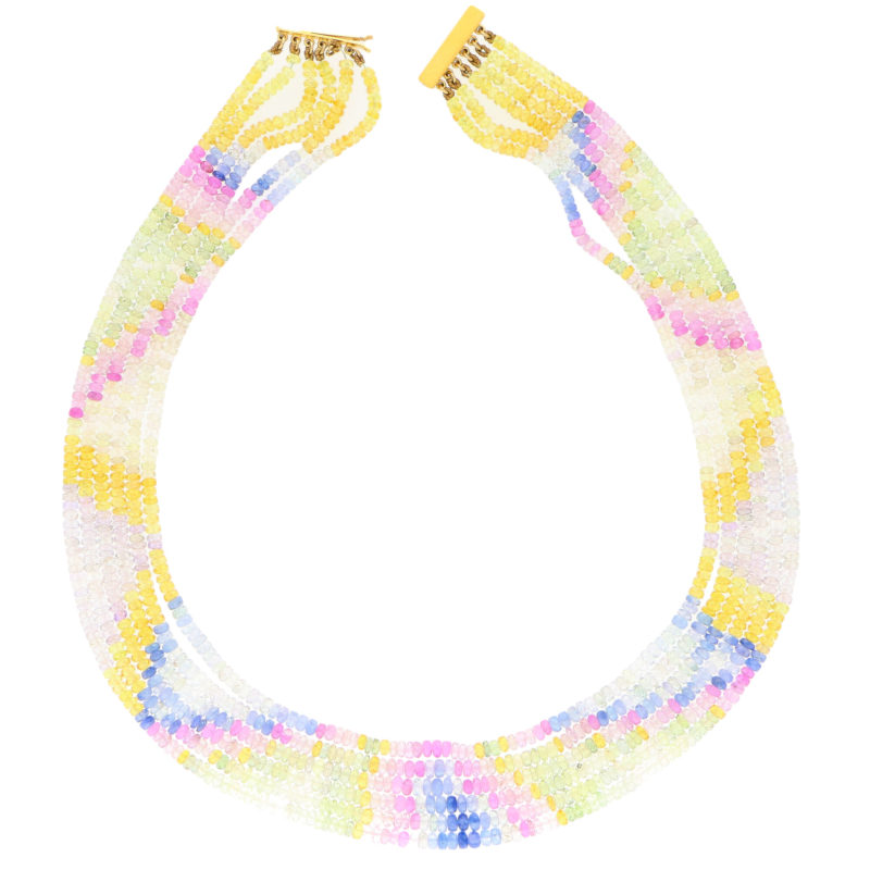 Beaded Pastel Rainbow Sapphire Strand Necklace