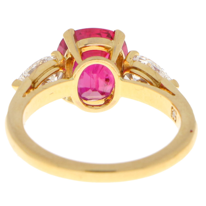 3.58ct Burmese Red Ruby and Diamond Engagement Ring