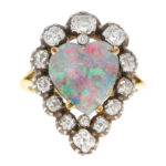 Victorian Opal and Old Mine Cut Diamond Heart Ring