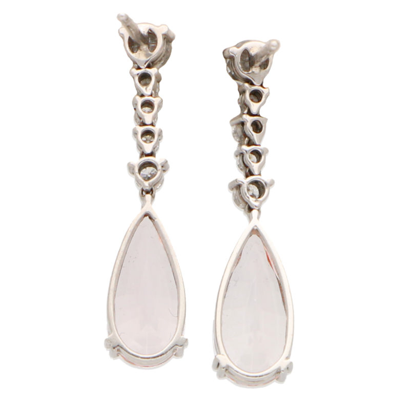 Pink Morganite and Diamond Drop Earrings