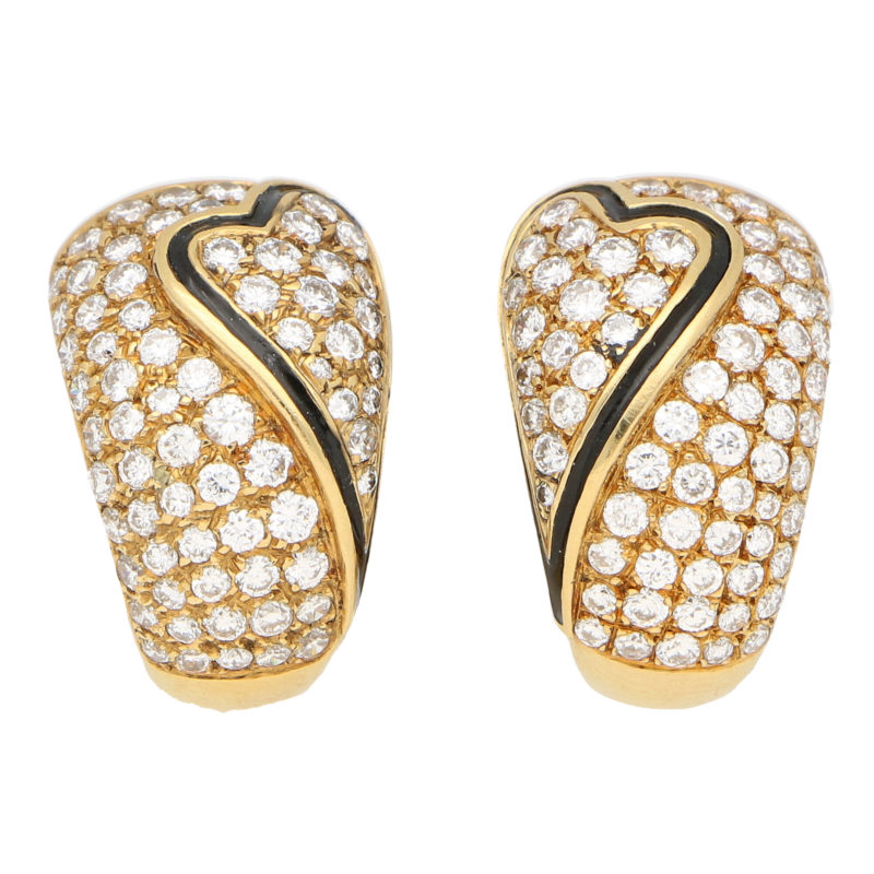 OJ Perrin Black Enamel Heart and Diamond Hoop Earrings