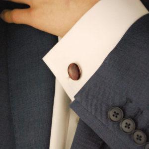 Men's maroon enamel sterling silver cushion chain link cufflinks