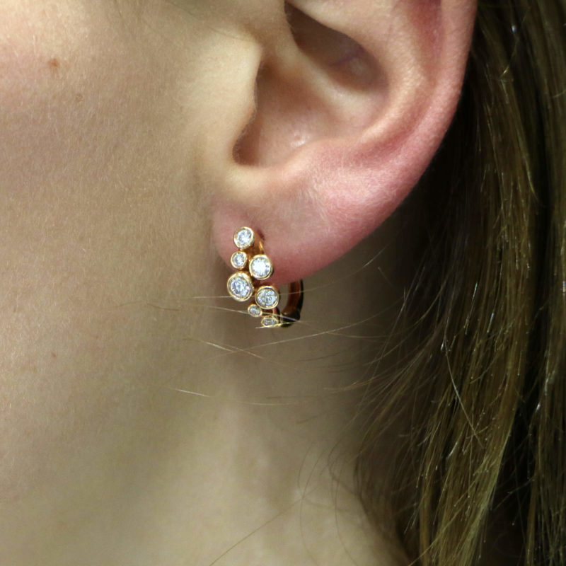 Diamond Bubble Hoop Earrings in Rose Gold