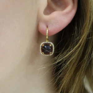 18ct gold garnet diamond drop earrings