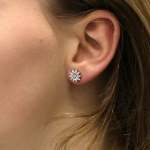 Diamond Cluster Daisy Stud Earrings