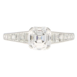 GIA Certified Art Deco Style Asscher Cut Diamond Ring