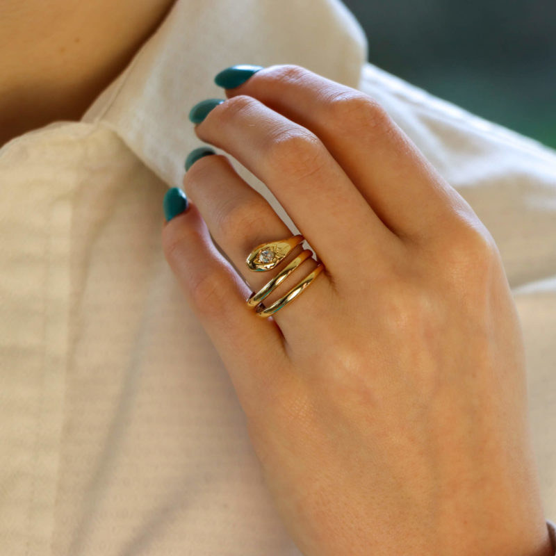 Yellow gold and diamond snake ring