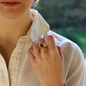La Dona Citrine and Diamond Ring in Yellow Gold
