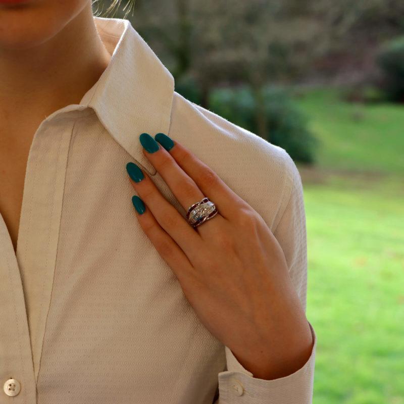Platinum diamond and ruby dress ring