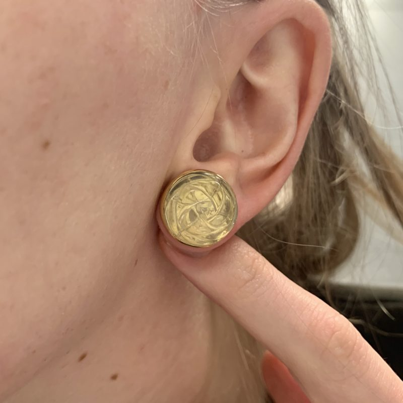 18ct yellow gold hand carved cabochon lemon quartz earrings