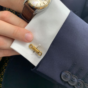 O. J. Perrin 18k yellow gold rope cufflinks.