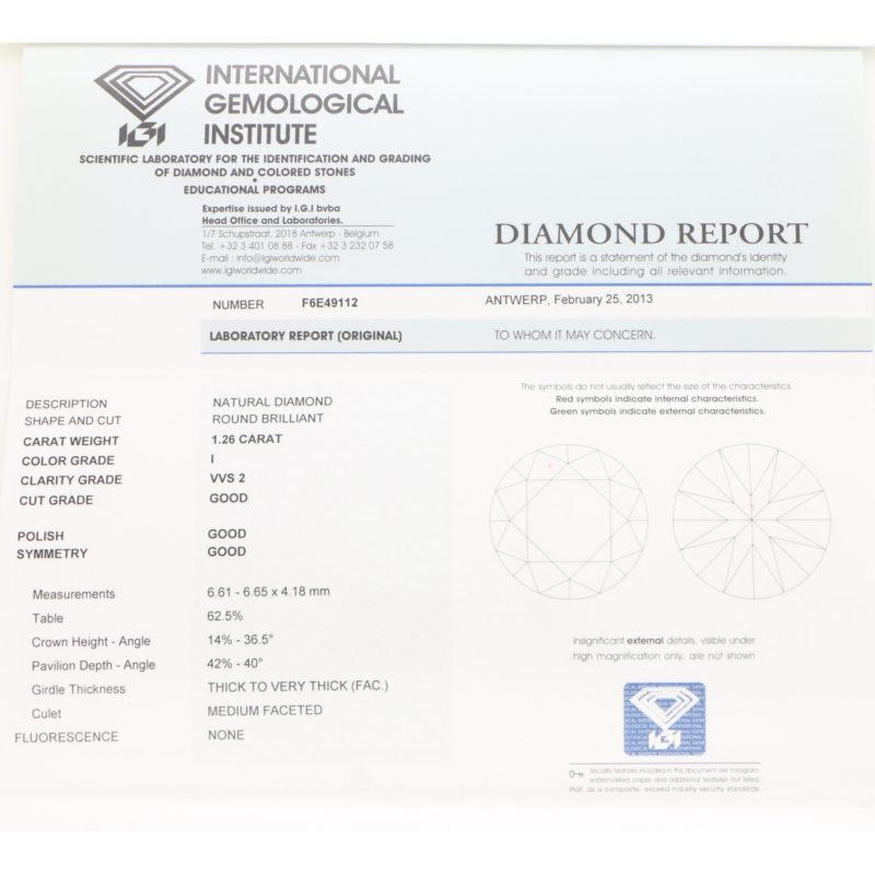 Three-stone diamond engagement ring in platinum
