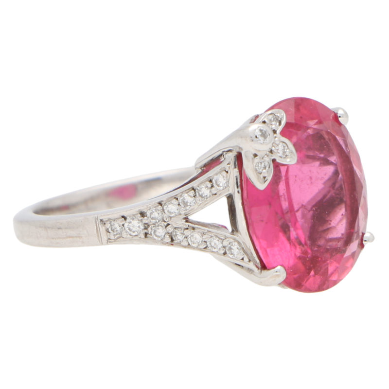 Boodles Pink Tourmaline and Diamond Floral Dress Ring